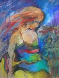 Ręka rysujący piękny młoda kobieta portret kobieta mody kwiat śliczna dziewczyna obraz obrazy stock