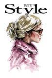 Ręka rysujący piękny młoda kobieta profil mody spojrzenie Elegancka elegancka blondynka włosy dziewczyna moda portret kobiety ilustracji