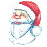Ręka rysujący portret Święty Mikołaj royalty ilustracja