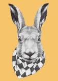 Ręka rysujący portret królik z szalikiem ilustracji