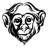 Ręka rysujący portret małpi szympans czarny white ilustracji