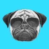 Ręka rysujący portret mopsa pies z okularami przeciwsłonecznymi ilustracji