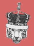 Ręka rysujący portret tygrys z koroną ilustracja wektor