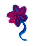 Ręka rysujący prosty farba kwiat różowy niebieski Wieśniaka styl Textu Fotografia Royalty Free