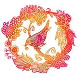 Ręka rysujący ptak w wianku Fotografia Royalty Free