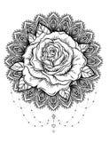 Ręka rysujący róża kwiat nad ozdobny round wzoru mandala wektor Zdjęcia Stock
