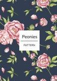 Ręka rysujący różowy peonia wzór Zdjęcia Stock