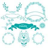 Ręka rysujący rama set z sową i liśćmi Obrazy Royalty Free
