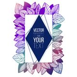 Ręka rysujący ramowy szablon dla twój teksta z doodle stylu gradientem opuszcza r obraz royalty free