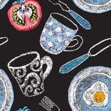 Ręka rysujący restauracyjni menu elementy Fotografia Royalty Free