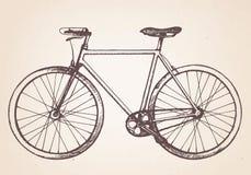 Ręka rysujący retro bicykl ilustracja wektor