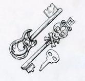 Ręka rysujący roczników klucze Zdjęcia Stock