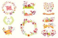 Ręka rysujący roczników kwiaty i kwieciści elementy dla wakacji Zdjęcia Royalty Free