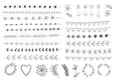 Ręka rysujący roczników kwieciści elementy royalty ilustracja