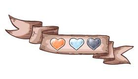 Ręka rysujący rocznika faborek i serca Projektów elementy dla valentines dnia również zwrócić corel ilustracji wektora Zdjęcie Royalty Free