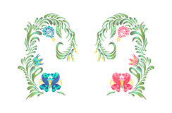 Ręka Rysujący rocznika kwiecisty ornament royalty ilustracja