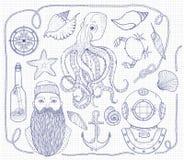 Ręka rysujący rocznika nautyczny set Ja składać się z ośmiornica, kotwica, żeglarz, butelka z wiadomością, seashells, krab, kompa royalty ilustracja