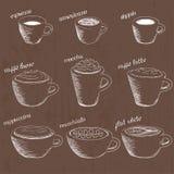 Ręka rysujący rodzaje kawa Ilustracja Wektor