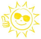 Ręka Rysujący słońca Jeden kciuk Z W górę okularów przeciwsłonecznych Żółtych ilustracji