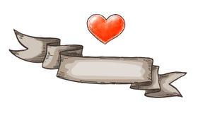 Ręka rysujący serca i rocznika faborek Projektów elementy dla valentines dnia również zwrócić corel ilustracji wektora Fotografia Stock