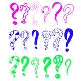 Ręka rysujący set doodle znak zapytania Wektorowa ilustracja dla twój ikony, tło, tapetowy projekt Kreskówki nakreślenia styl ilustracji