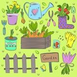 R?ka rysuj?cy set kolorowi ogrodowi narz?dzia zdjęcia royalty free