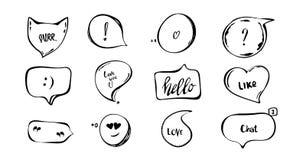 Ręka rysujący set mowa bąble z ręka pisać krótko zwrotami mruczy, kocha, ciebie, gadka, cześć wyceny, pytanie, okrzyk ocena ilustracja wektor
