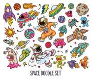 Ręka rysujący set przestrzeń doodles w koloru wektorze ilustracja wektor