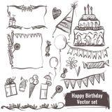 Ręka rysujący set wektorowi elementy szczęśliwy urodziny Zdjęcia Stock