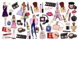 Ręka rysujący set z kosmetykami i akcesoriami ilustracji