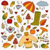 Ręka rysujący spadek jesieni symbole Zdjęcia Royalty Free