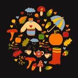 Ręka rysujący spadek jesieni symbole w okręgu Obrazy Royalty Free
