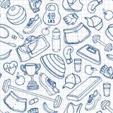 Ręka rysujący sprawności fizycznej doodle bezszwowy wzór Kontury na ciosowym Obrazy Stock