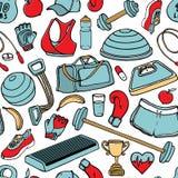 Ręka rysujący sprawności fizycznej doodle bezszwowy wzór również zwrócić corel ilustracji wektora Obraz Royalty Free