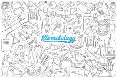 Ręka rysujący stomatology ustawiający z literowaniem ilustracji