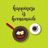 Ręka rysujący szczęście jest domowej roboty typografii literowania plakatem z śniadaniowym stołem na tle royalty ilustracja