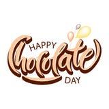Ręka rysujący Szczęśliwy czekoladowy dzień typografii literowanie ilustracja wektor