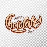Ręka rysujący Szczęśliwy czekoladowy dzień typografii literowanie royalty ilustracja