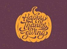 Ręka rysujący Szczęśliwy dziękczynienie typografii plakat ilustracja wektor