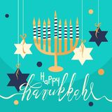 Ręka rysujący Szczęśliwy Hanukkah kartka z pozdrowieniami Obrazy Stock