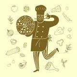 Ręka rysujący szczęśliwy szef z doodle posiłkiem Zdjęcie Royalty Free