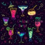 Ręka rysujący szkicowy koktajlu set również zwrócić corel ilustracji wektora Fotografia Stock