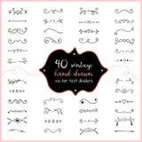 Ręka rysujący tekstów dividers wektorowy doodle Ślubna dividers klamerki sztuka dla zaproszenia Zdjęcia Royalty Free