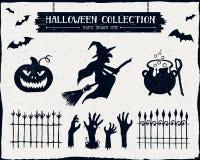 Ręka rysujący textured Halloween set Zdjęcia Royalty Free