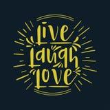 Ręka rysujący typografia plakat Inspiracyjnego wycena ` śmiechu miłości żywy ` Dla kartek z pozdrowieniami, walentynki, poślubia, royalty ilustracja