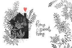 Ręka rysujący typografia plakat Wektorowa ilustracja z czerń domu sylwetką, domem, kwiecistym elementów, serca i teksta, Fotografia Royalty Free
