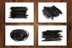 Ręka rysujący węgiel drzewny kredy tekstury set ilustracji