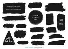 Ręka rysujący węgiel drzewny kredy tekstury set royalty ilustracja