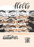 Ręka rysujący wektor karty szablon z ręcznie pisany literowanie fazy jesieni grafiki i opowieści oczami na pomarańcze cześć Obraz Royalty Free