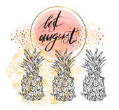 Ręka rysujący wektor textured karcianego szablon z ananasami royalty ilustracja